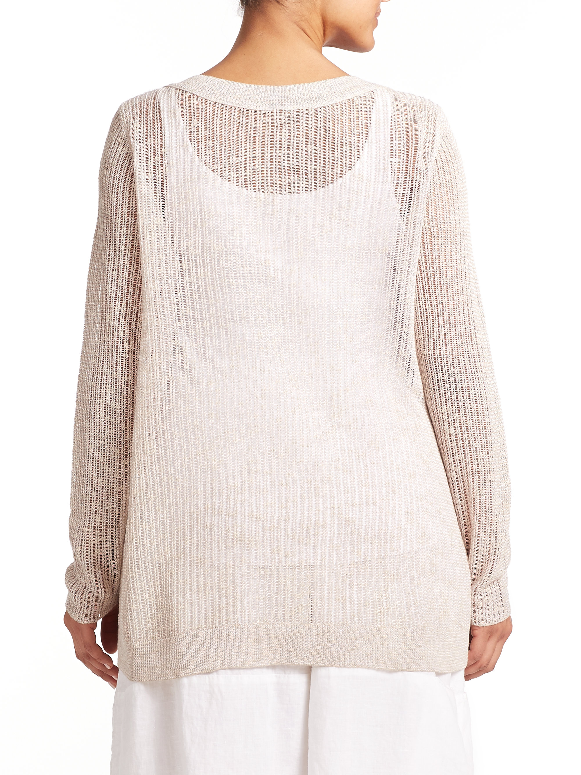 Lyst Eileen Fisher Linen Cotton Open Knit Top In Natural