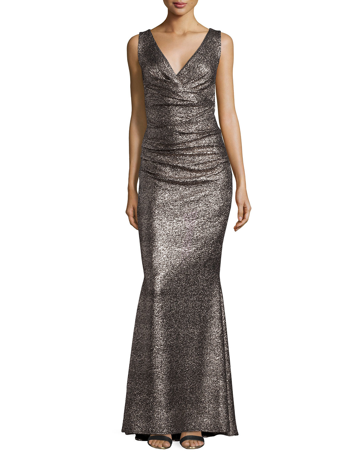 talbot runhof bossa gilded v neck ruched gown in metallic lyst. Black Bedroom Furniture Sets. Home Design Ideas