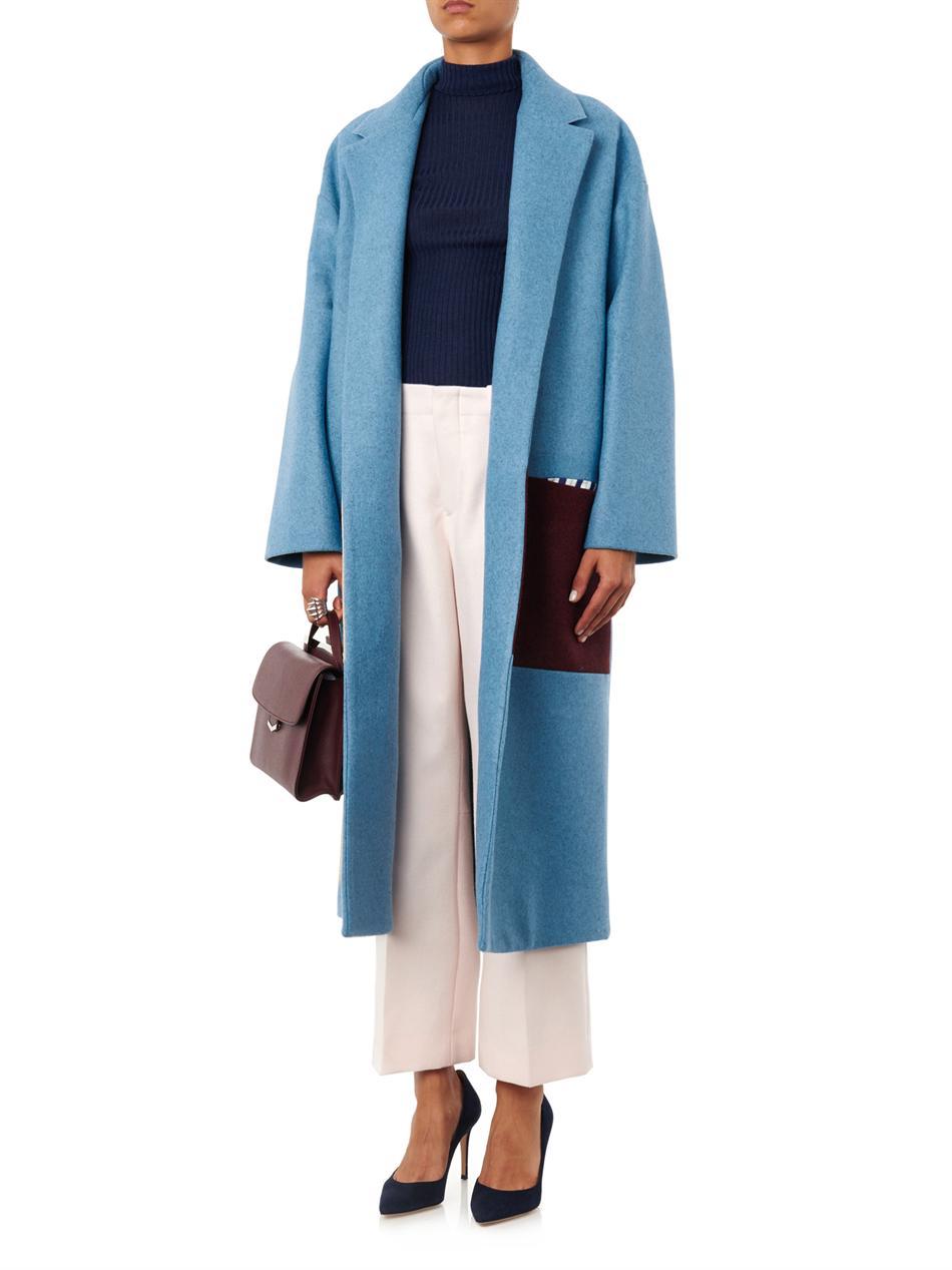 Roksanda Larkin Tri-Colour Felted-Wool Coat in Blue | Lyst