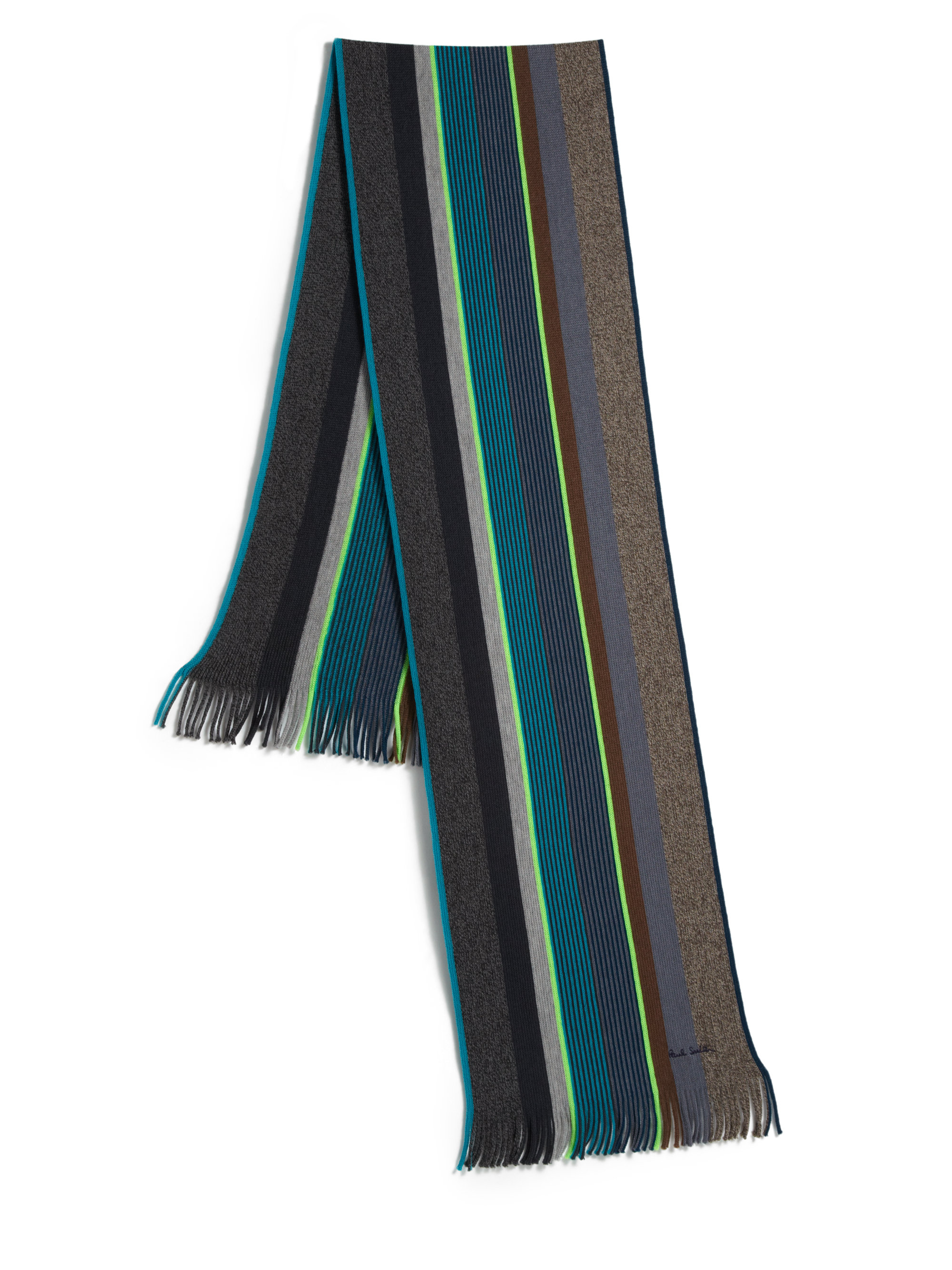 paul smith striped scarf in gray for lyst