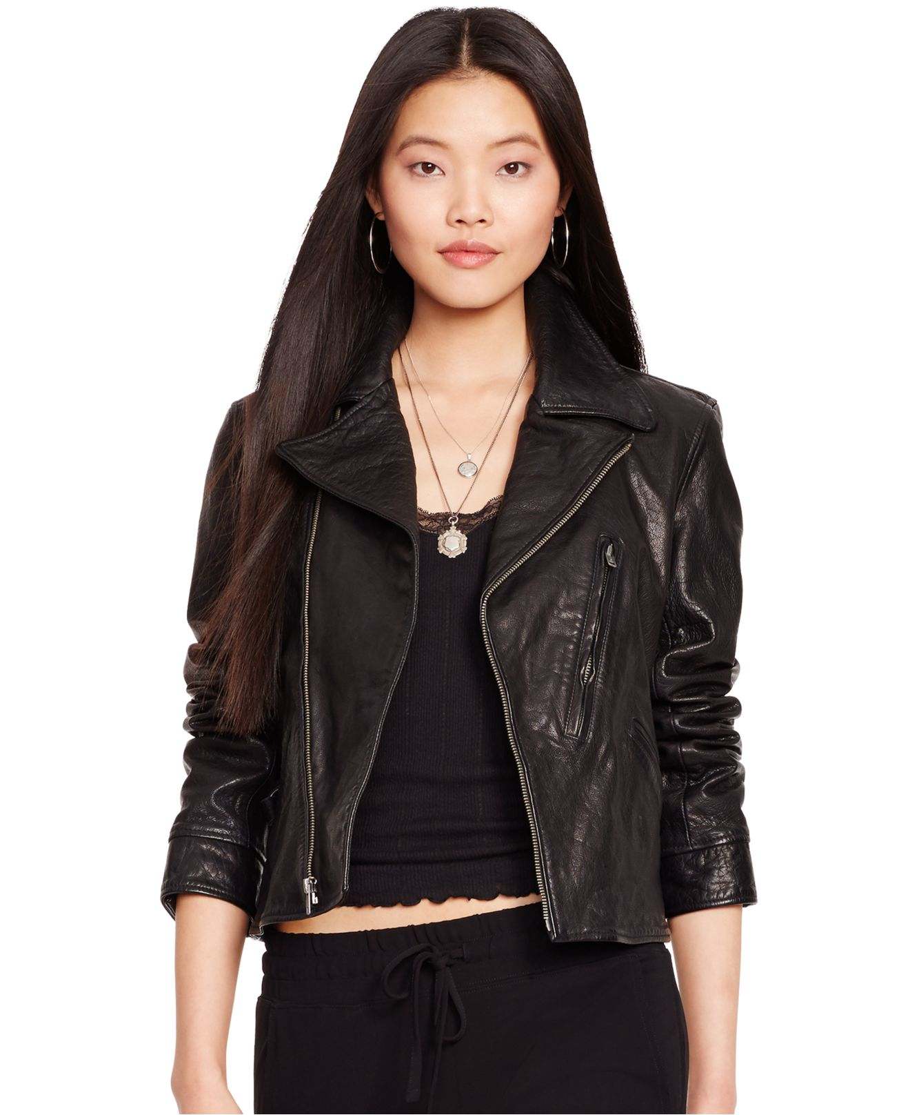 polo ralph lauren washed leather jacket in black lyst. Black Bedroom Furniture Sets. Home Design Ideas