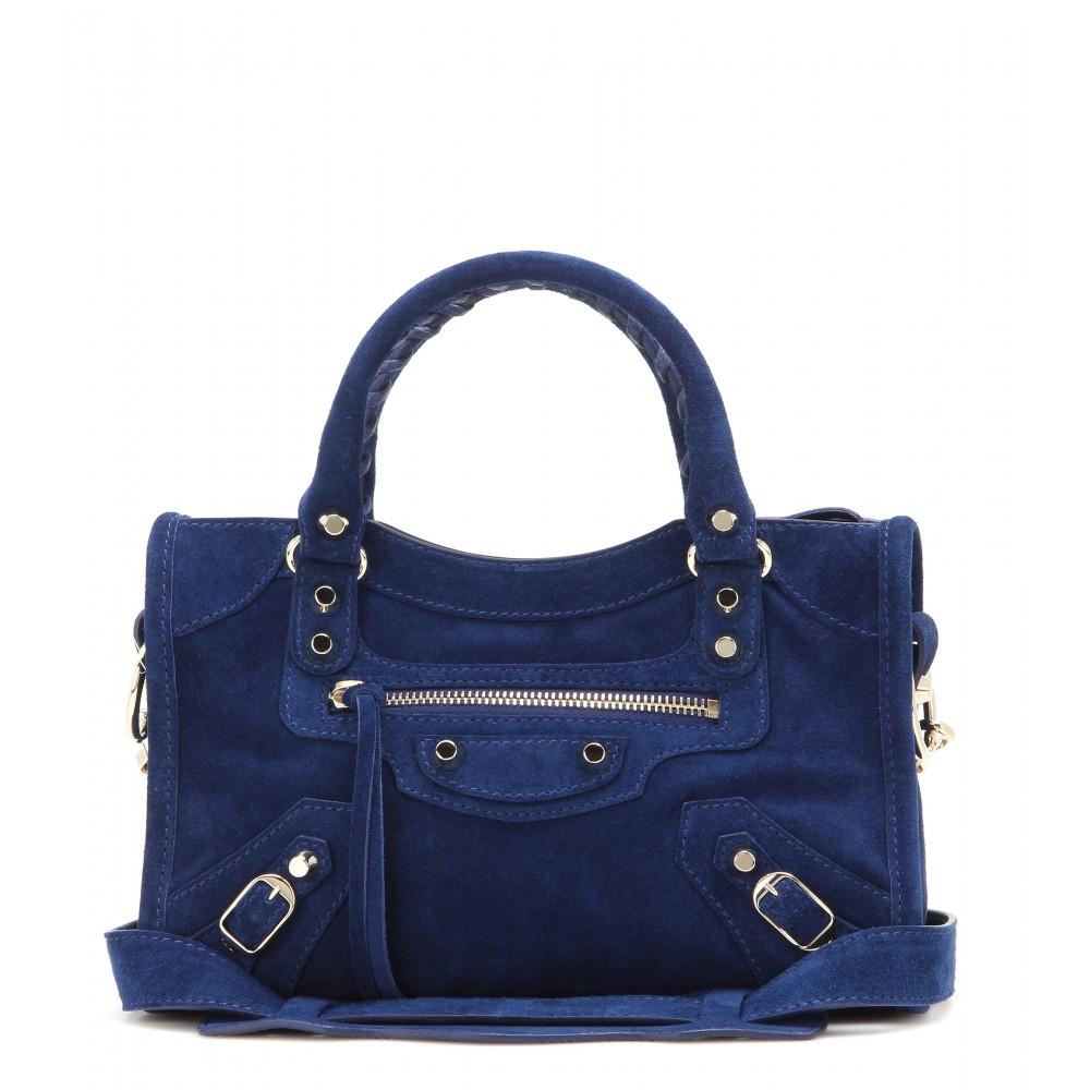 lyst balenciaga classic mini city suede shoulder bag in blue. Black Bedroom Furniture Sets. Home Design Ideas