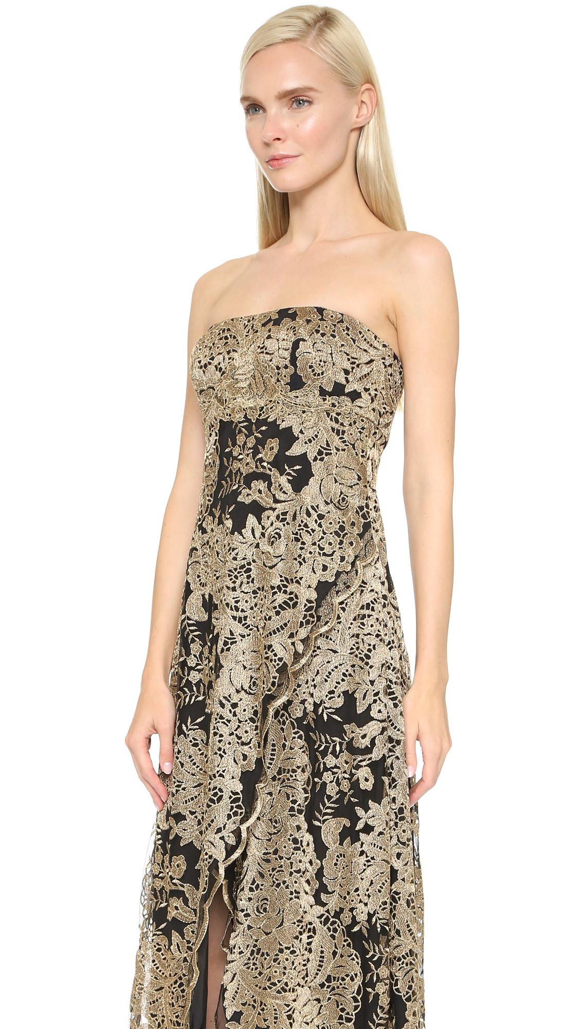 Marchesa notte Strapless Gown - Black/gold in Black - Lyst