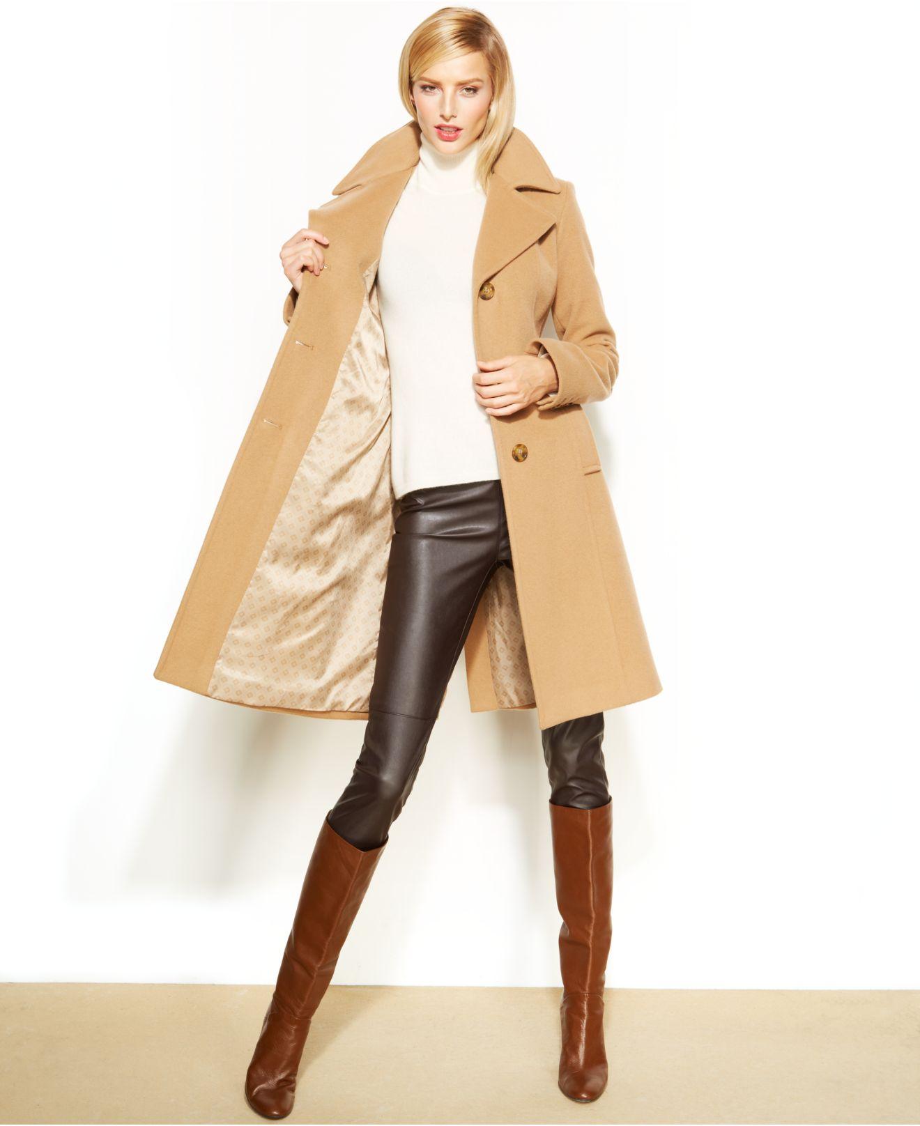 e242ead788eeda Anne Klein Wool-Cashmere-Blend Notched-Collar Walker Coat in Natural ...