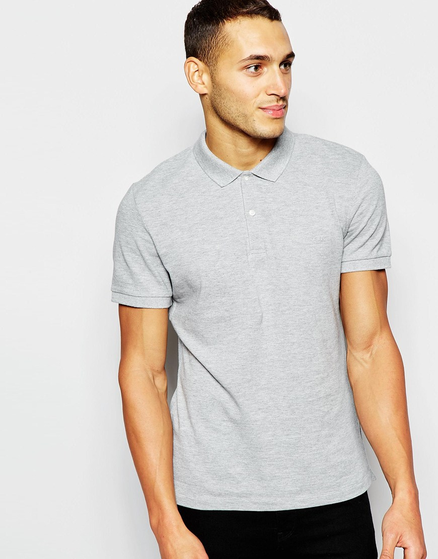 Lyst Dkny Polo Shirt Embellished Chest Logo In Gray For Men