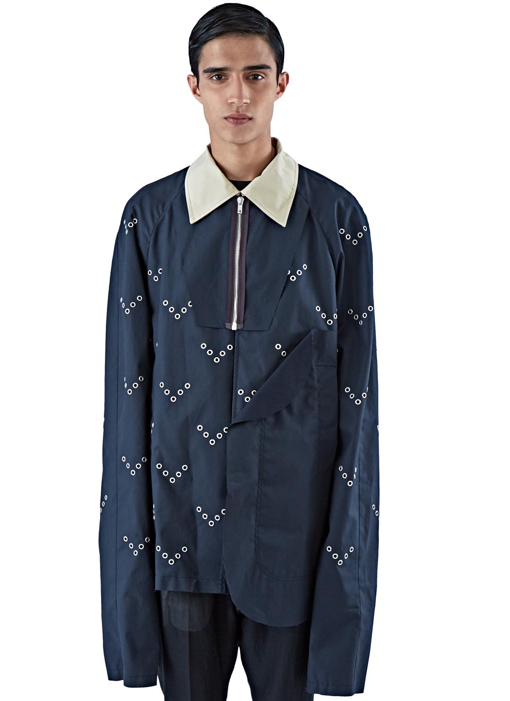 Raf simons men 39 s raglan sleeved eyelet caban jacket in for Mens eyelet collar dress shirts