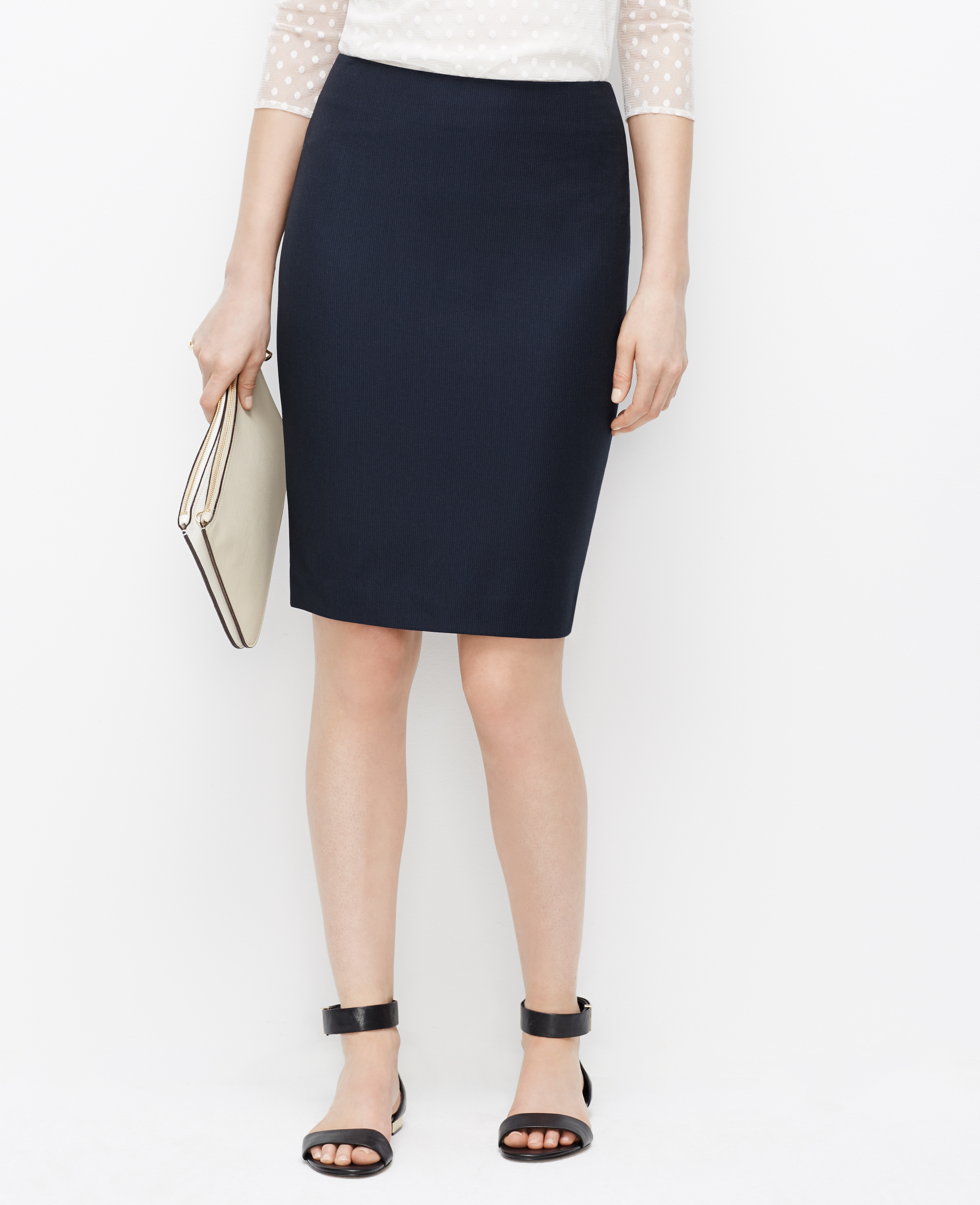 Ann taylor Pinstripe Pencil Skirt in Blue | Lyst