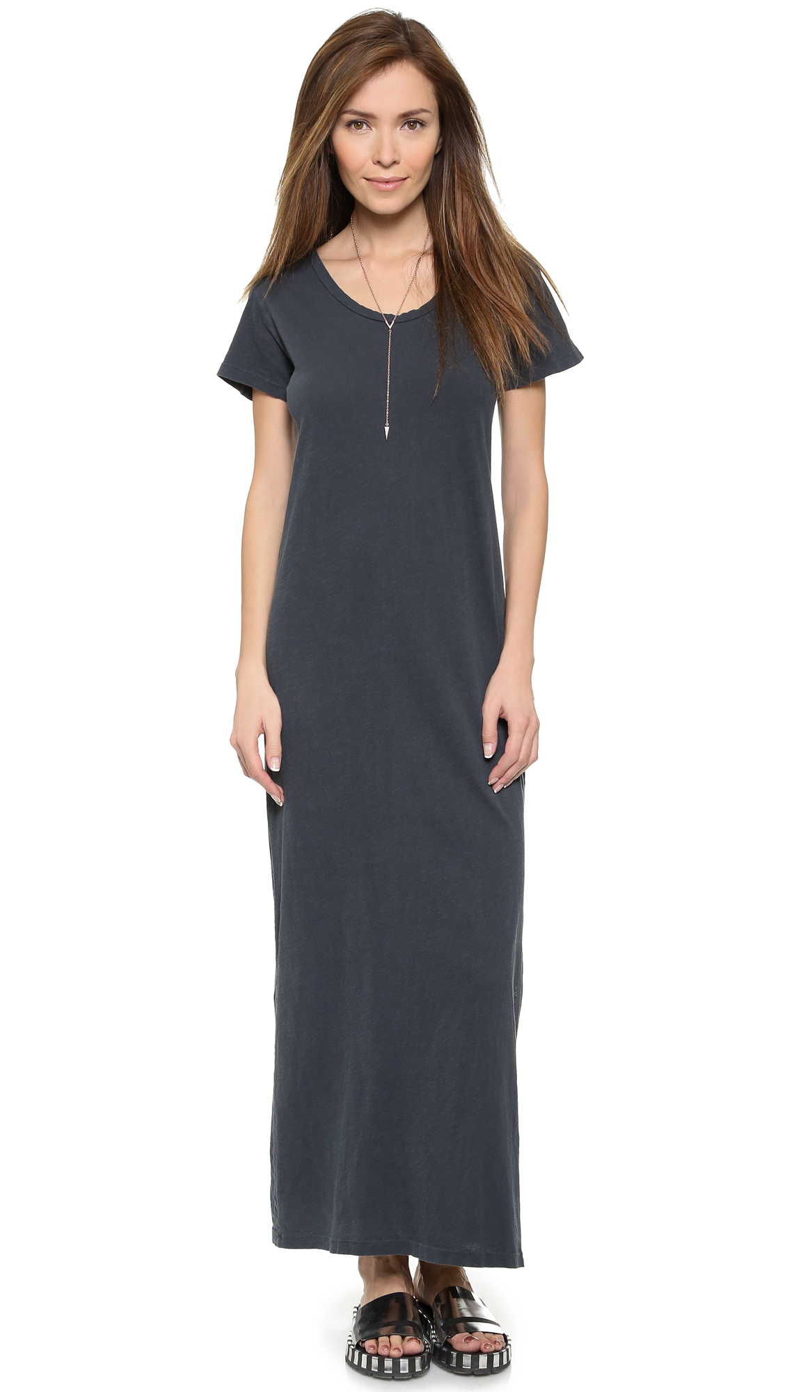 Lna T Shirt Maxi Dress Vintage Black In Black Lyst