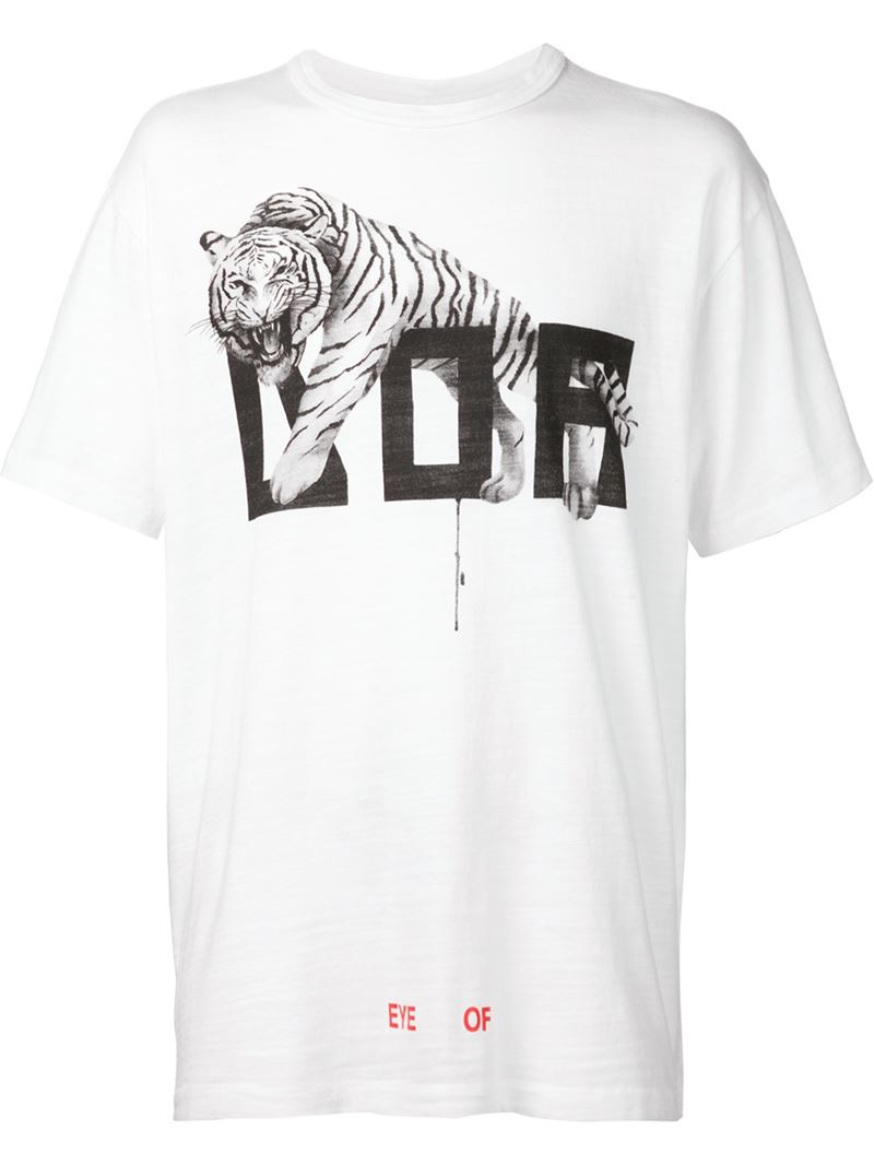 lyst off white c o virgil abloh text and tiger print cotton t shirt in white for men. Black Bedroom Furniture Sets. Home Design Ideas