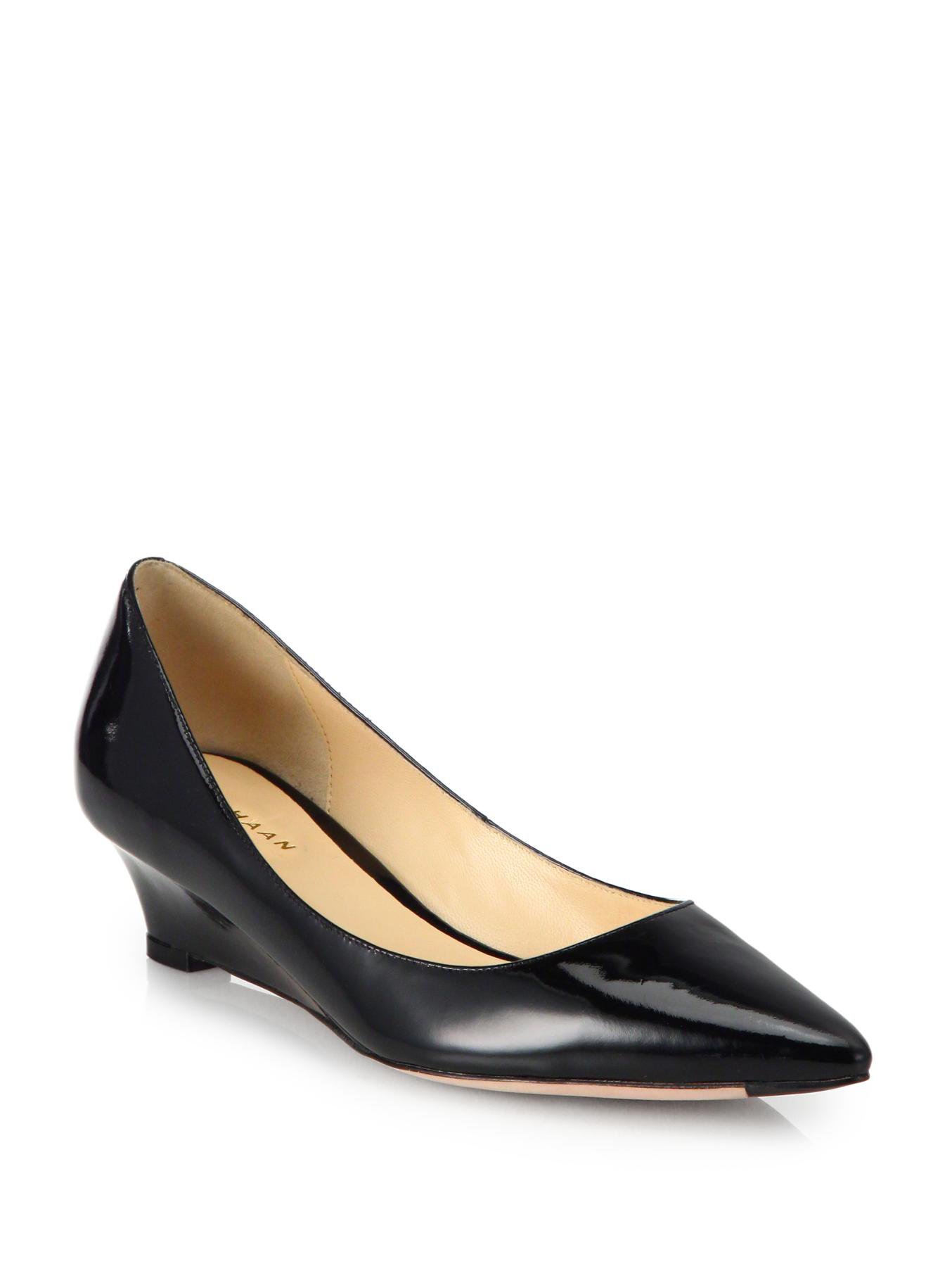 cole haan bradshaw patent leather wedge pumps in black lyst. Black Bedroom Furniture Sets. Home Design Ideas