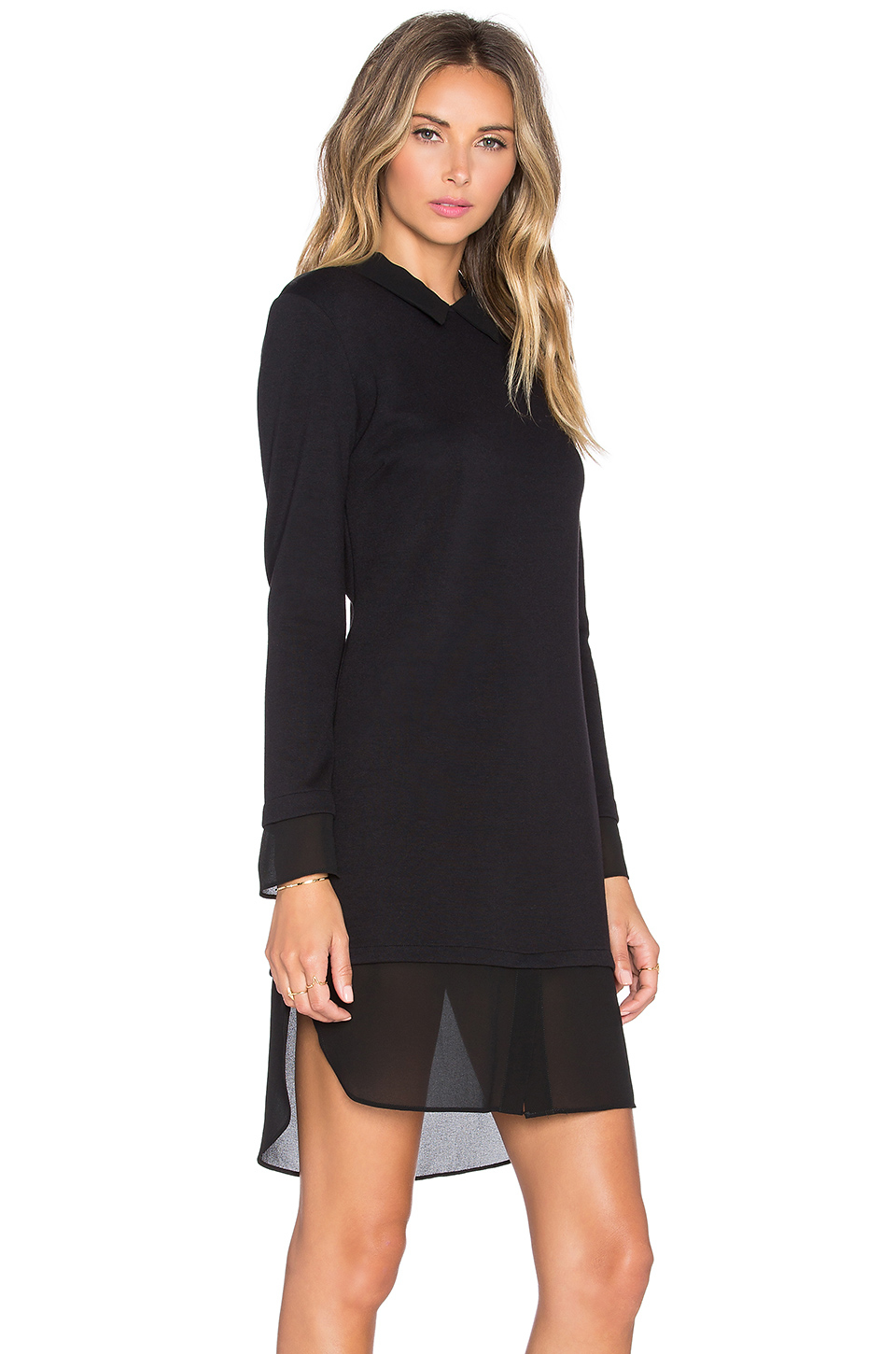 Only Hearts Double Knit Chiffon Shirt Dress In Black