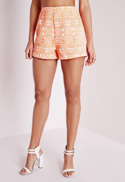 Missguided Aztec Print High Waist Tailored Shorts Orange in Orange ...