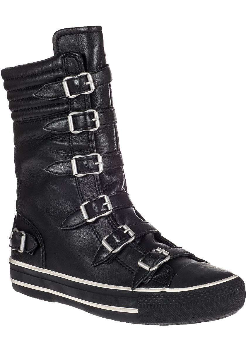 ash vulcano hi top sneaker black leather in black lyst. Black Bedroom Furniture Sets. Home Design Ideas
