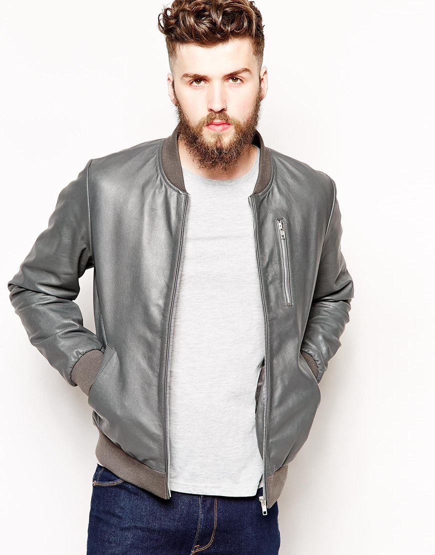 Grey Bomber Jacket Men