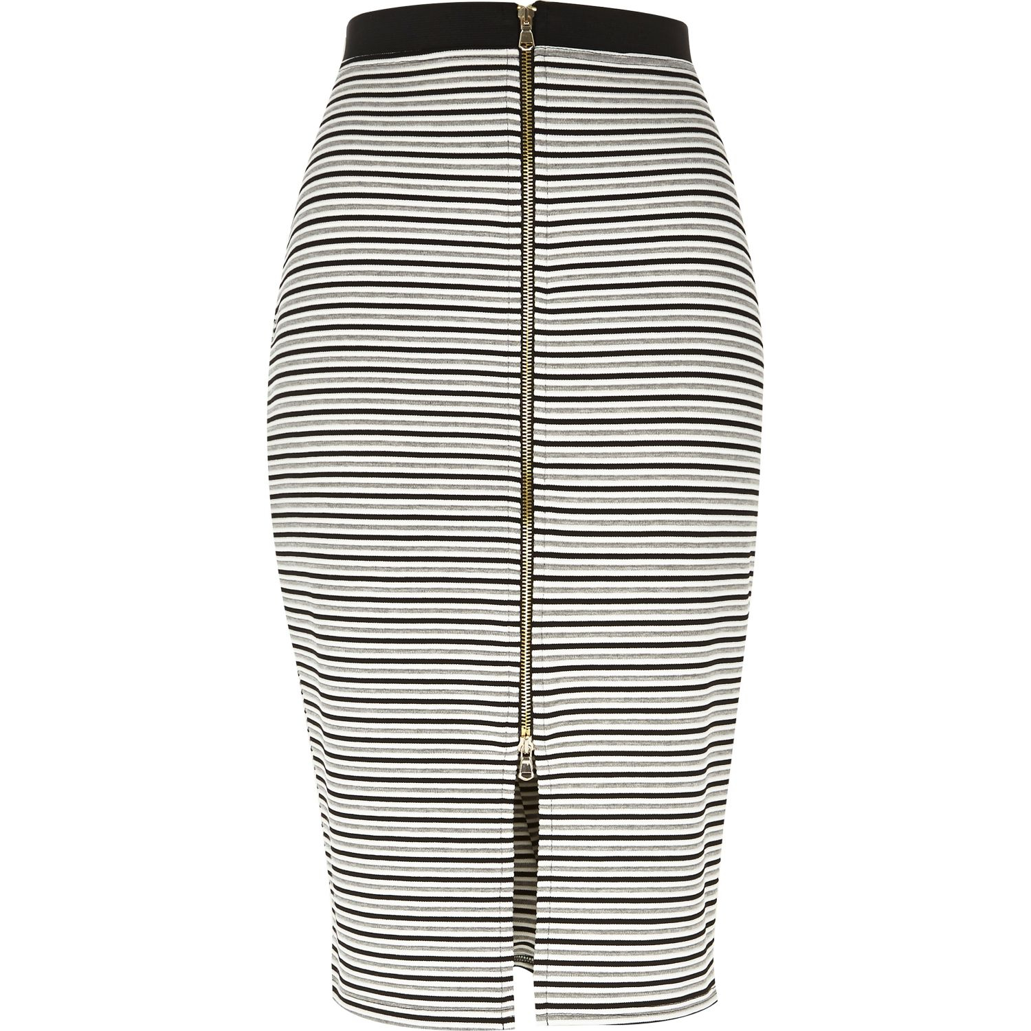b3df3d7d39 River Island Grey Stripe Zip Front Pencil Skirt in Gray - Lyst