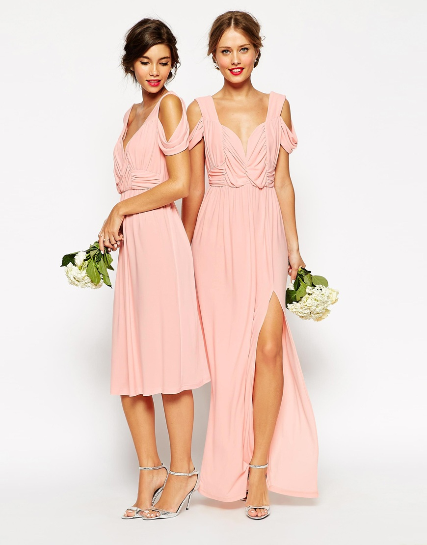 Asos Wedding Drape Cold Shoulder Maxi Dress In Pink Lyst