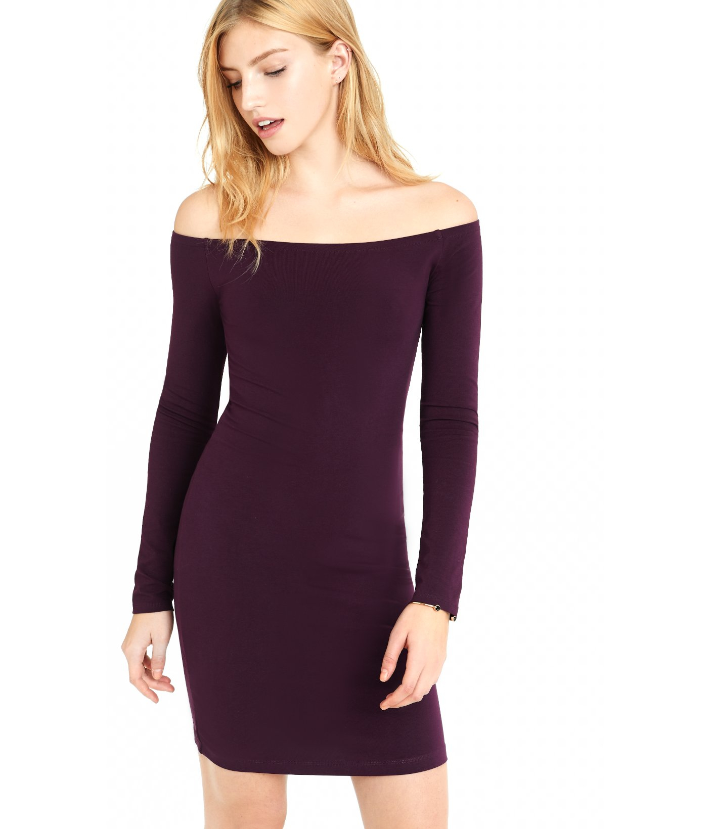 1dbb63b6eed2 Lyst - Express Currant Fitted Off The Shoulder Dress in Purple