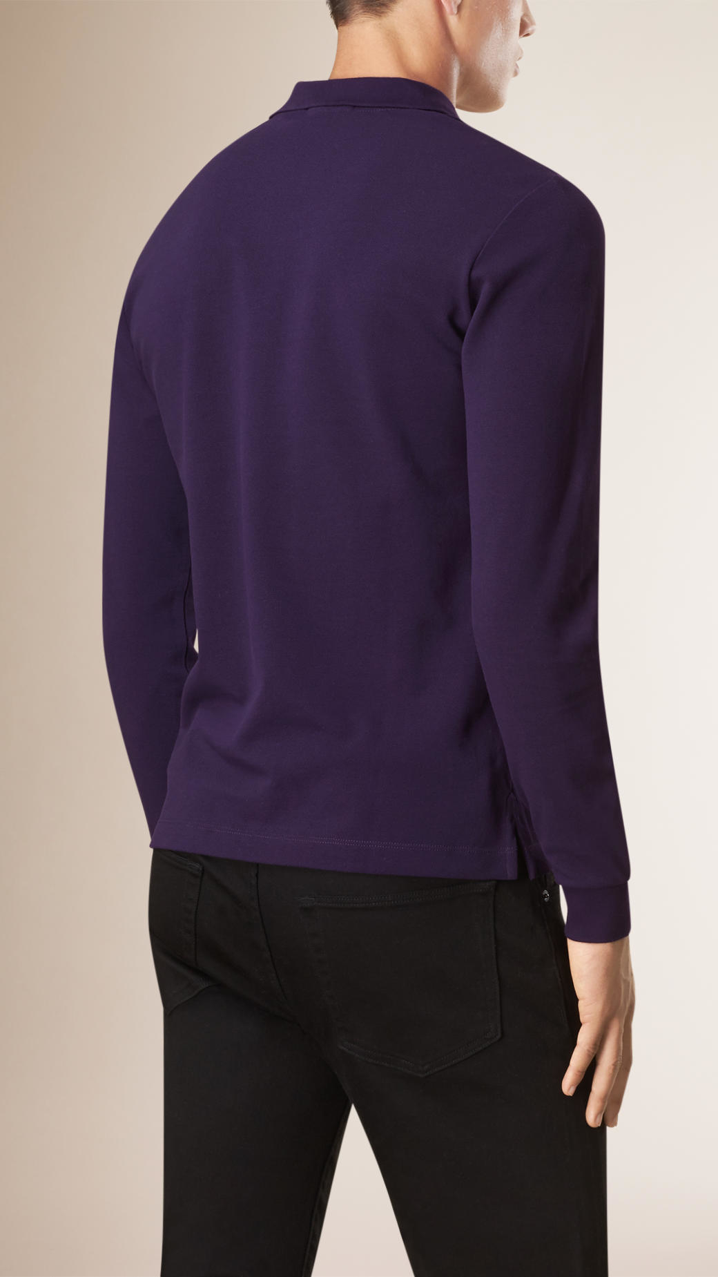 Lyst burberry check placket long sleeve polo shirt for Long sleeve purple polo shirt
