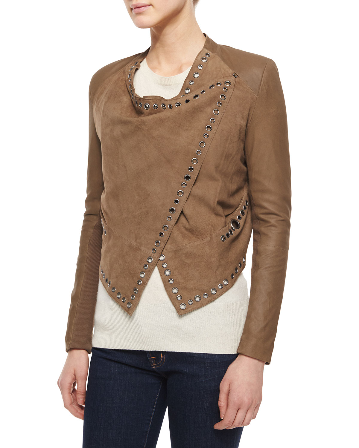 9a69aa9146c85 Lyst - Neiman Marcus Grommet-detail Draped Leather Jacket .