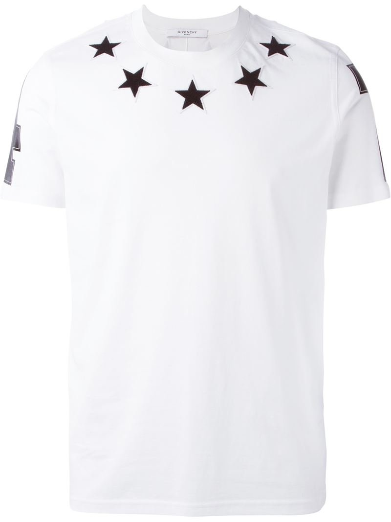 lyst givenchy star patch t shirt in white for men. Black Bedroom Furniture Sets. Home Design Ideas