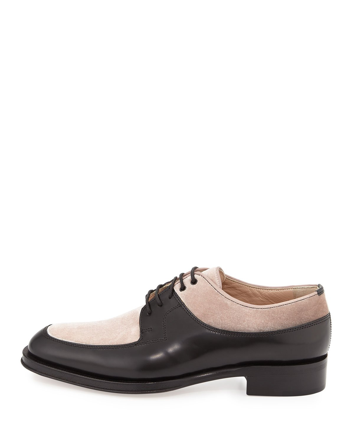 Valentino Leather/velvet Lace-up Oxford In Multicolor For ...