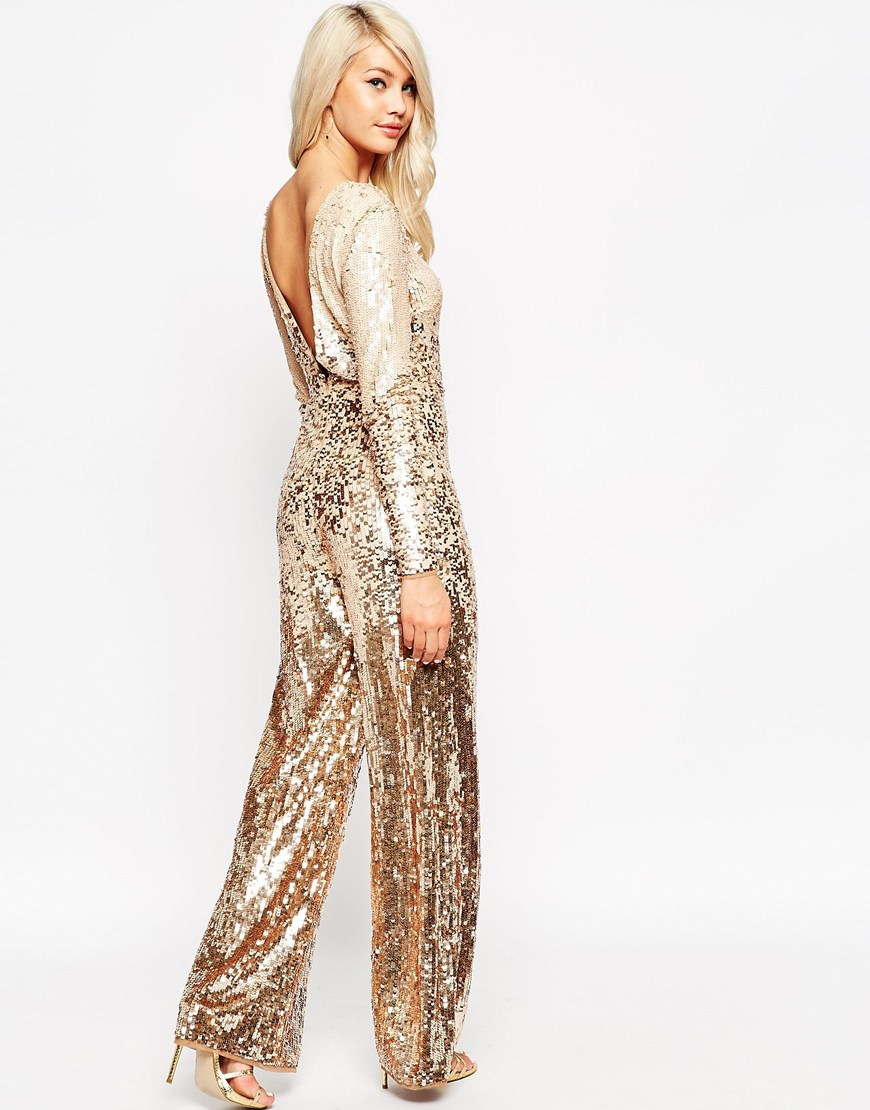 asos bronze ombre stripe sequin jumpsuit gold product 0 415571967 normal
