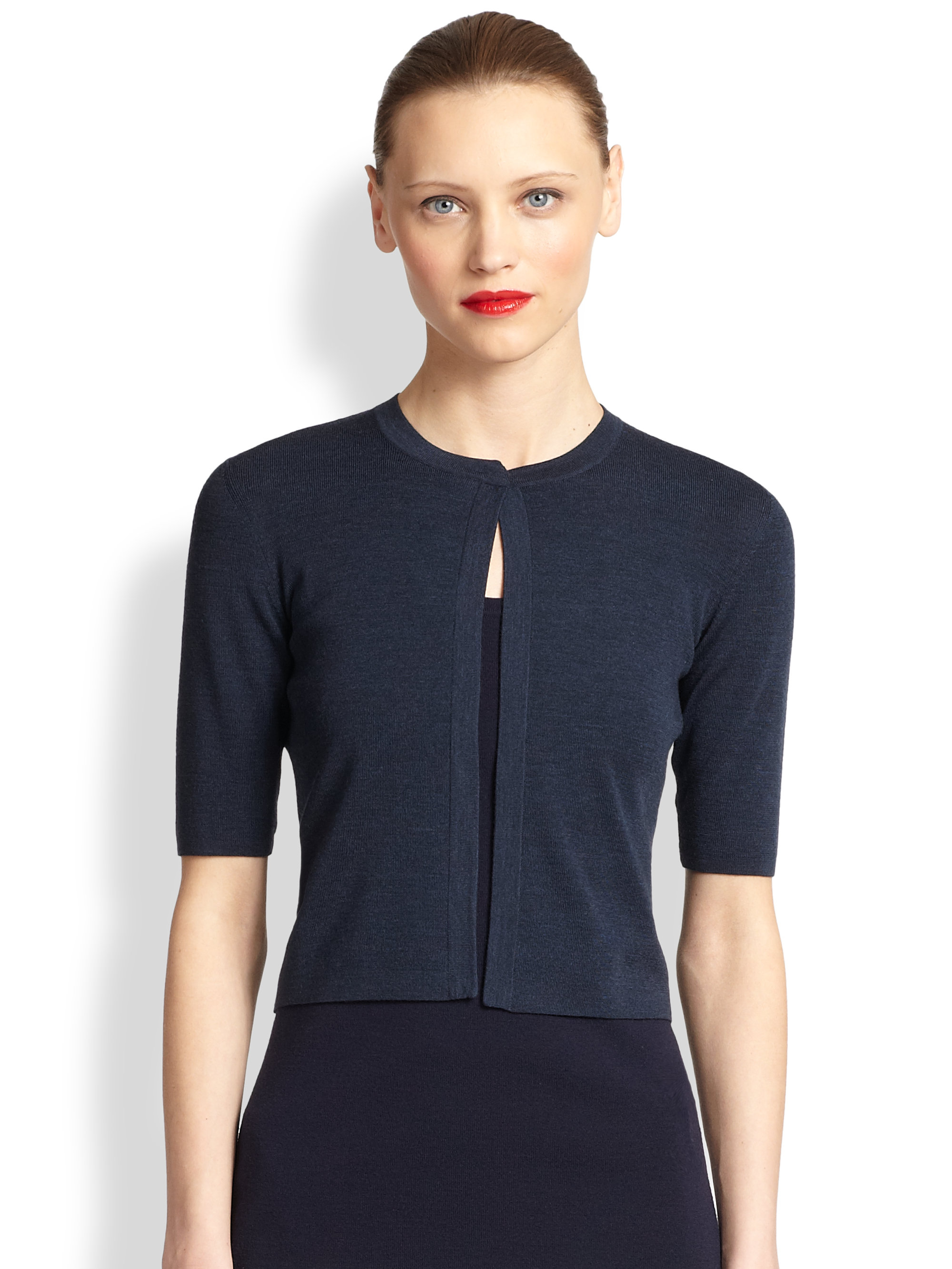 Akris punto Cropped Cardigan in Blue | Lyst