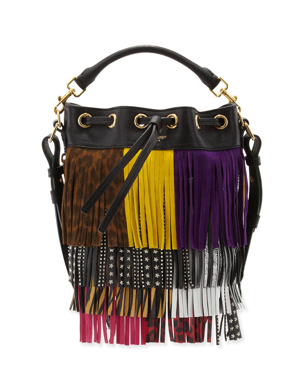 fbab8b0077 Saint laurent Emmanuelle Mixed-fringe Small Bucket Bag in ... emmanuelle small  leather ...