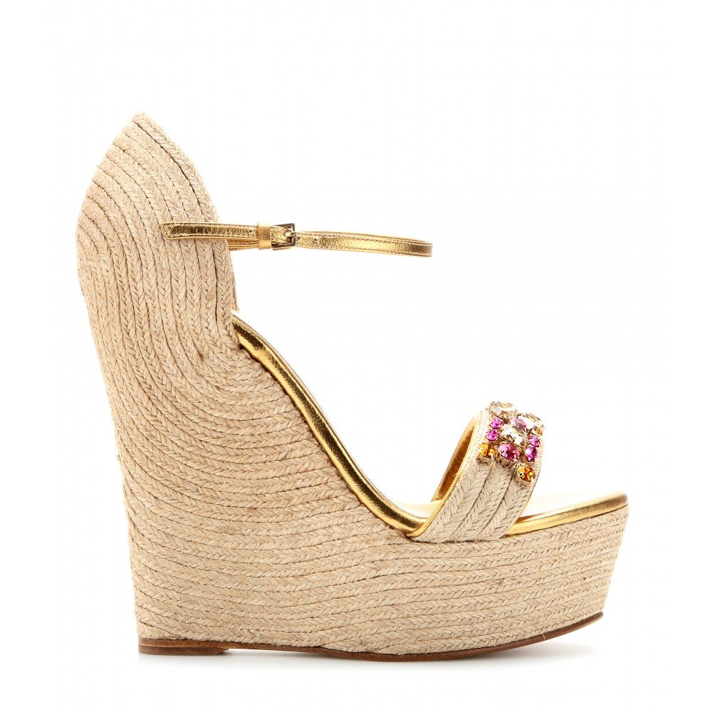 20bd628fe6f Lyst - Gucci Carolina Embellished Espadrille Wedge Sandals in Metallic