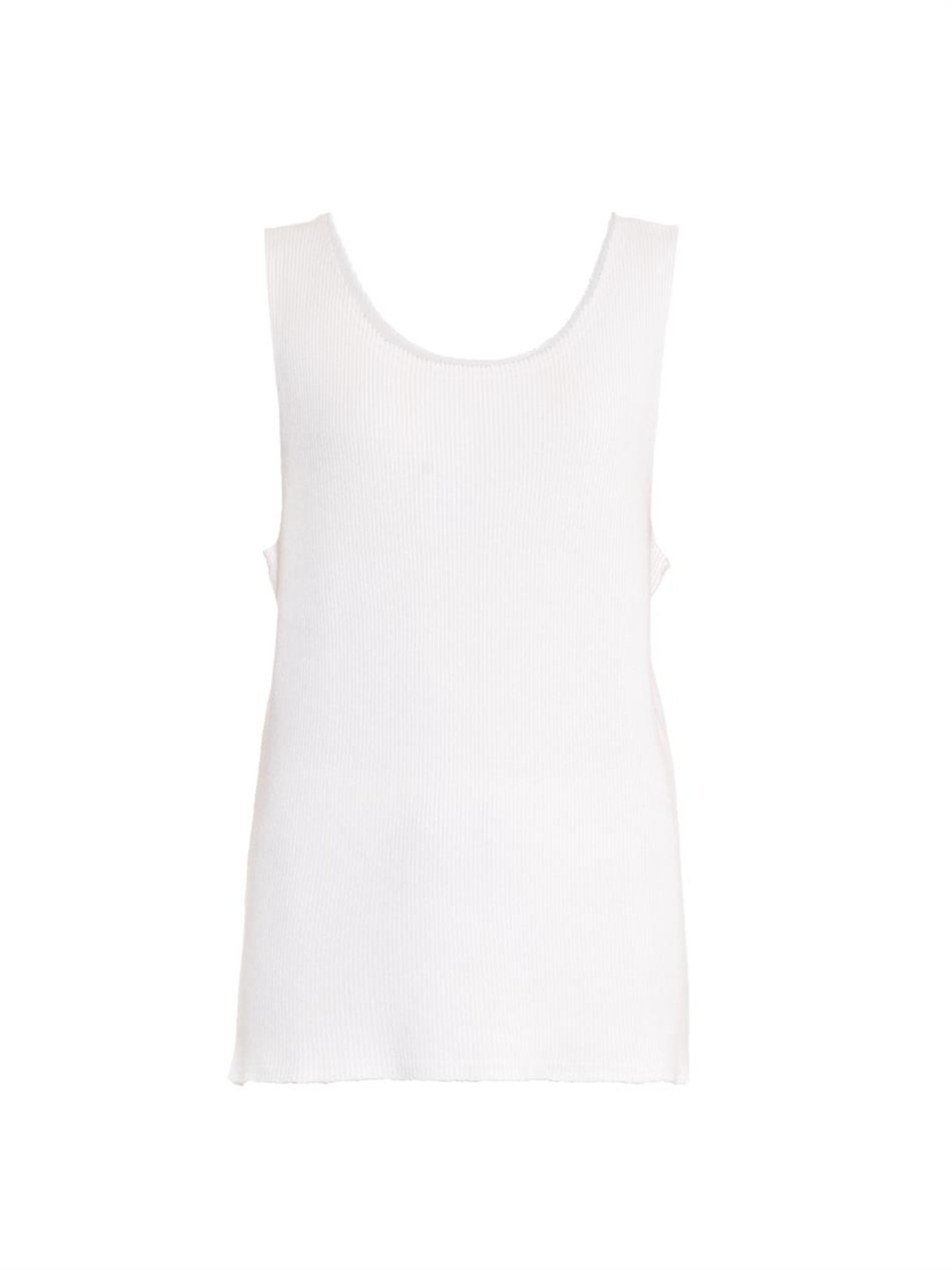 d5c21695442e5 Lyst - Baja East Ribbed-knit Cashmere Tank Top in White