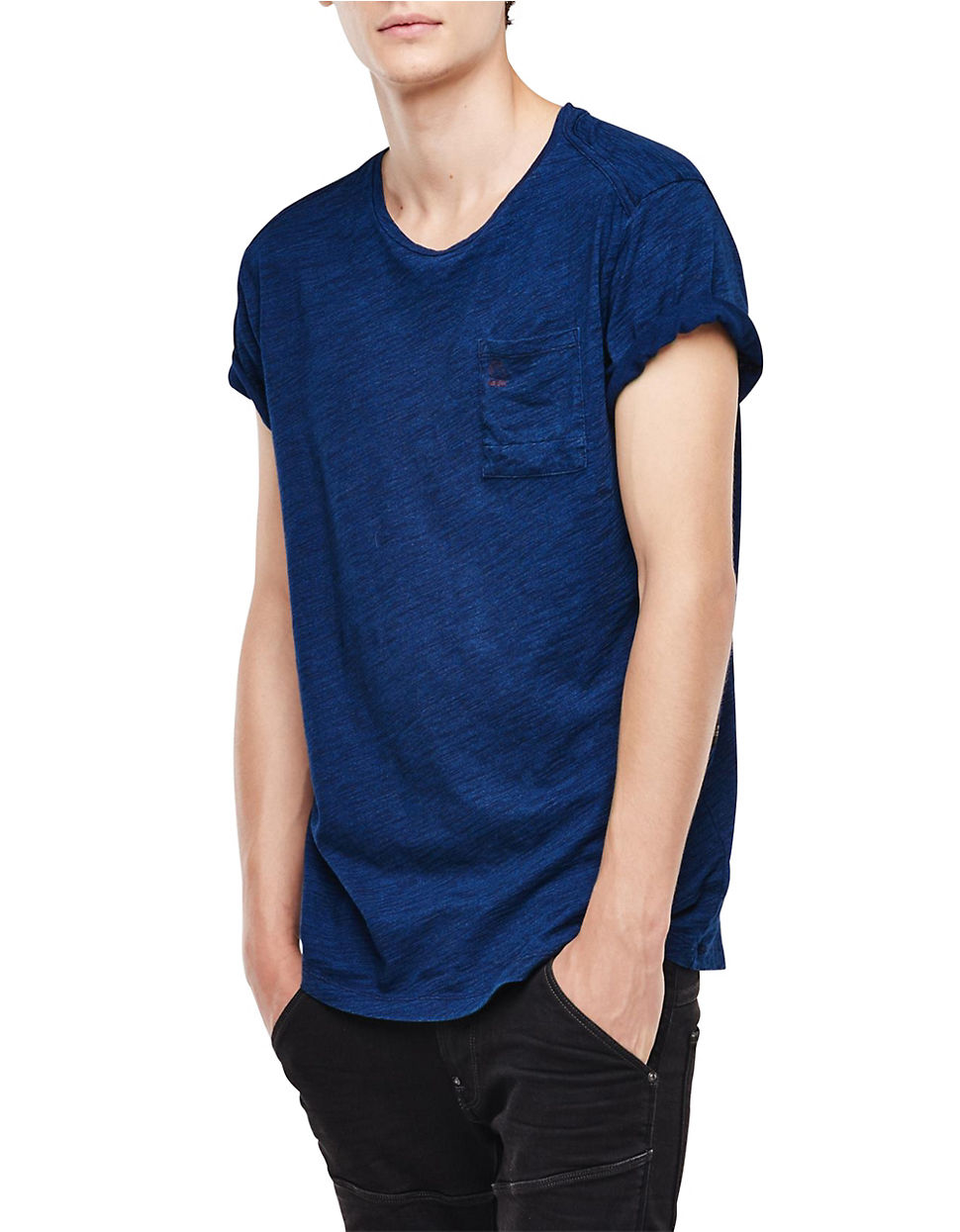 lyst g star raw cotton t shirt in blue for men. Black Bedroom Furniture Sets. Home Design Ideas
