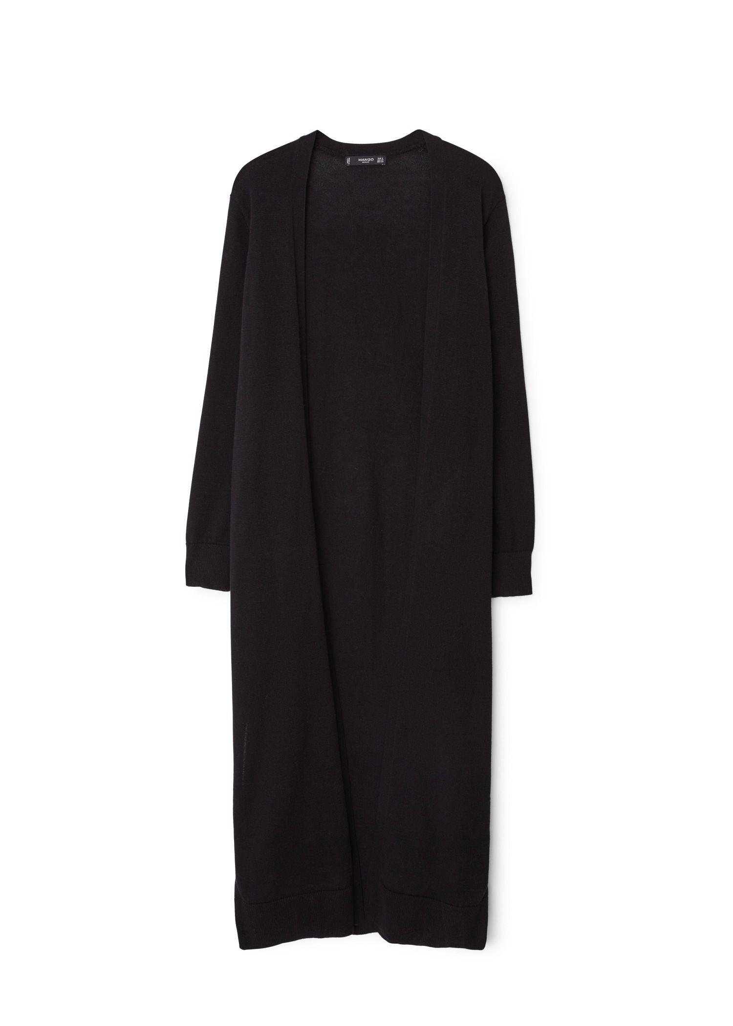 Mango Long Cotton Cardigan in Black | Lyst
