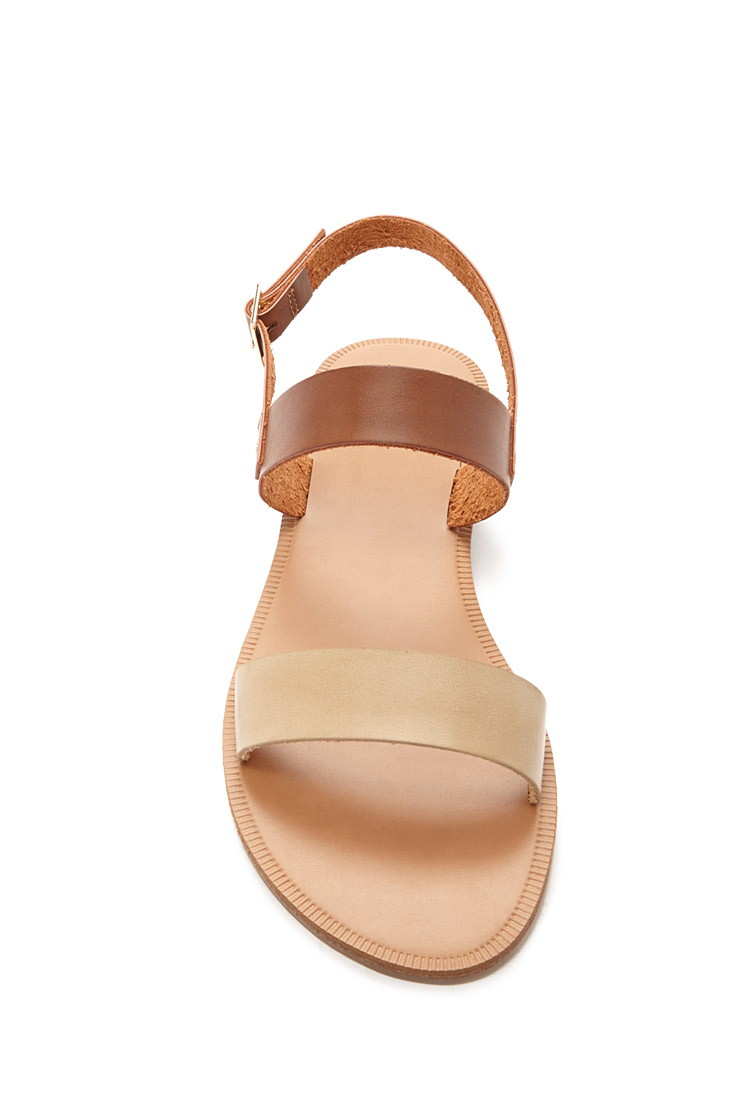 38608ad0425 Forever 21 Two-tone Faux Leather Sandals in Brown - Lyst