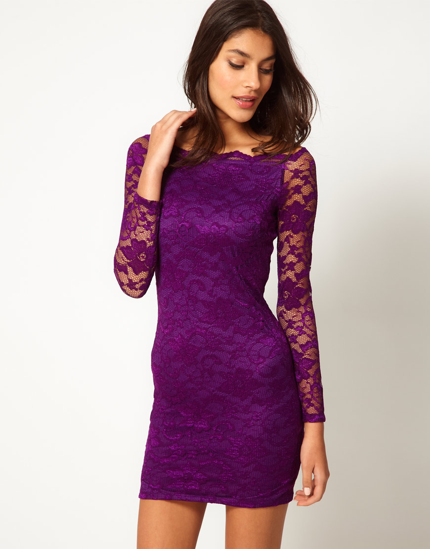 ec24fa810b59 Lyst - ASOS Bodycon Lace Dress With Off Shoulder in Purple