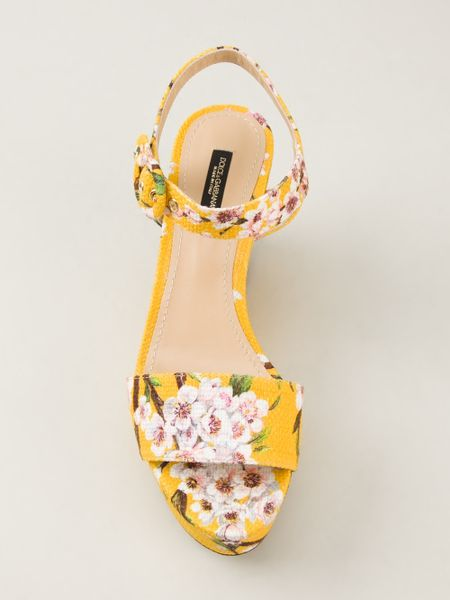 Dolce Amp Gabbana Floral Print Wedge Sandal In Yellow
