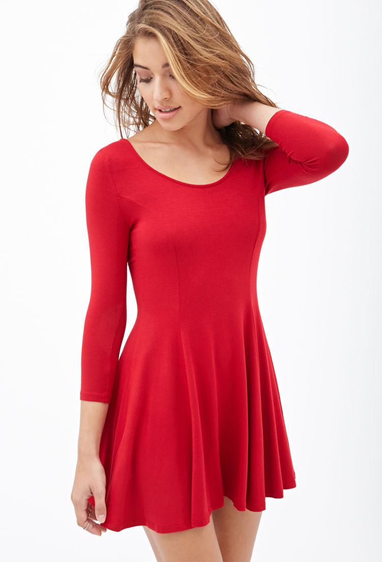 Forever 21 Knit Skater Dress in Red | Lyst