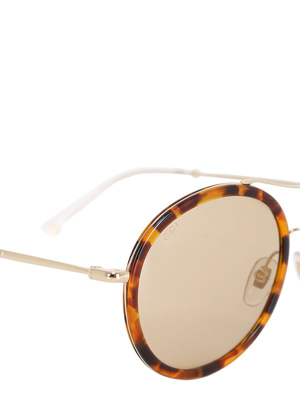 cbbec2f017b Lyst - Gucci Ultralight Rounded Acetate Sunglasses in Brown
