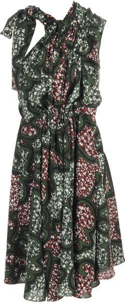 Marni Exclusive Printed Technocrepe Dress in Green