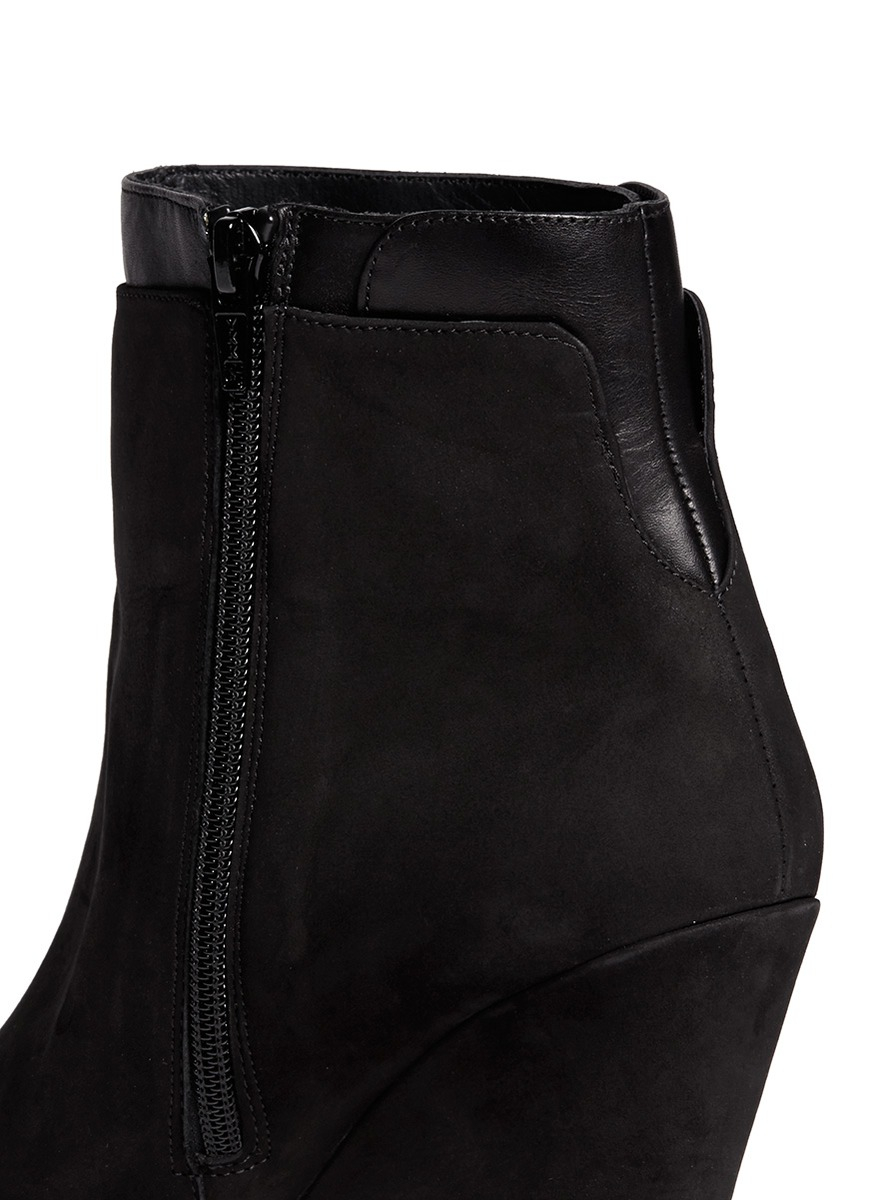 vince ludlow leather cuff suede boots in black lyst