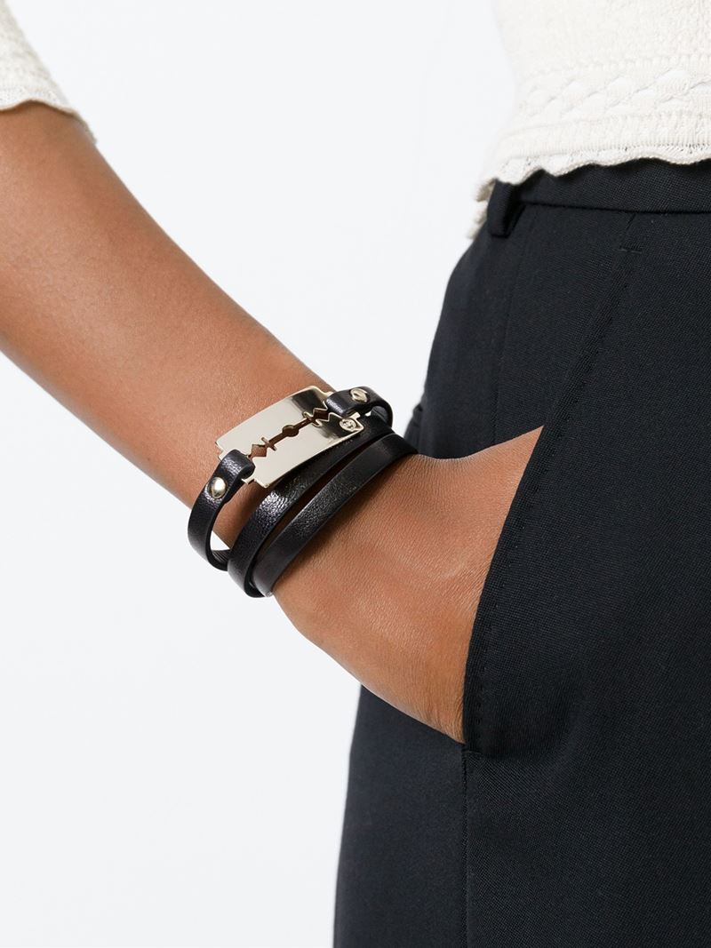 or black jewelry for braided bracelet triple infinity gift leather details woman ori man wrap