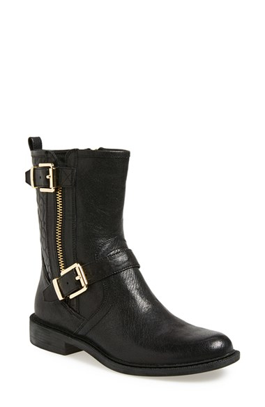 vince camuto roadell leather biker boots in black black