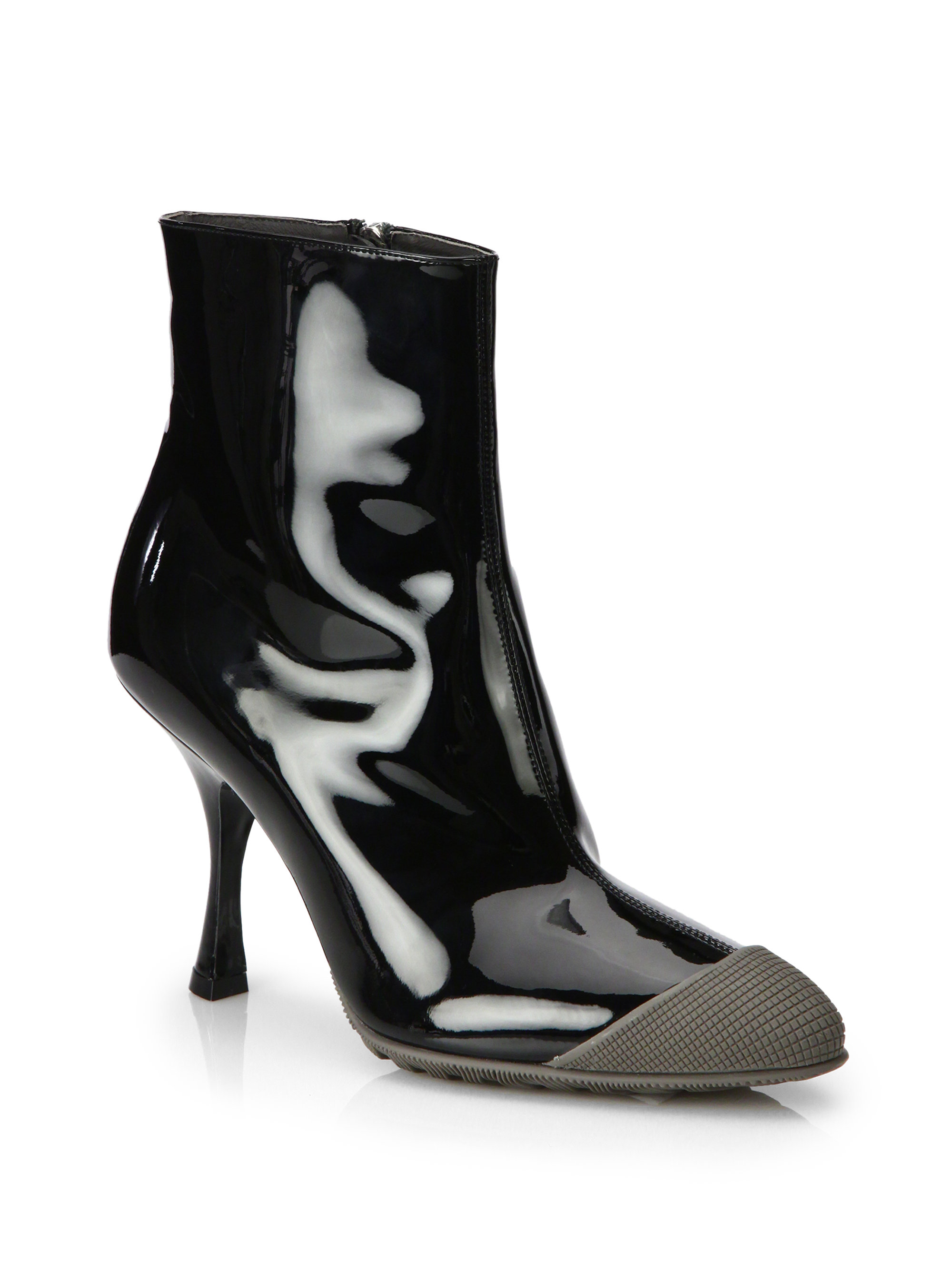 miu miu patent leather rubber captoe ankle boots in black