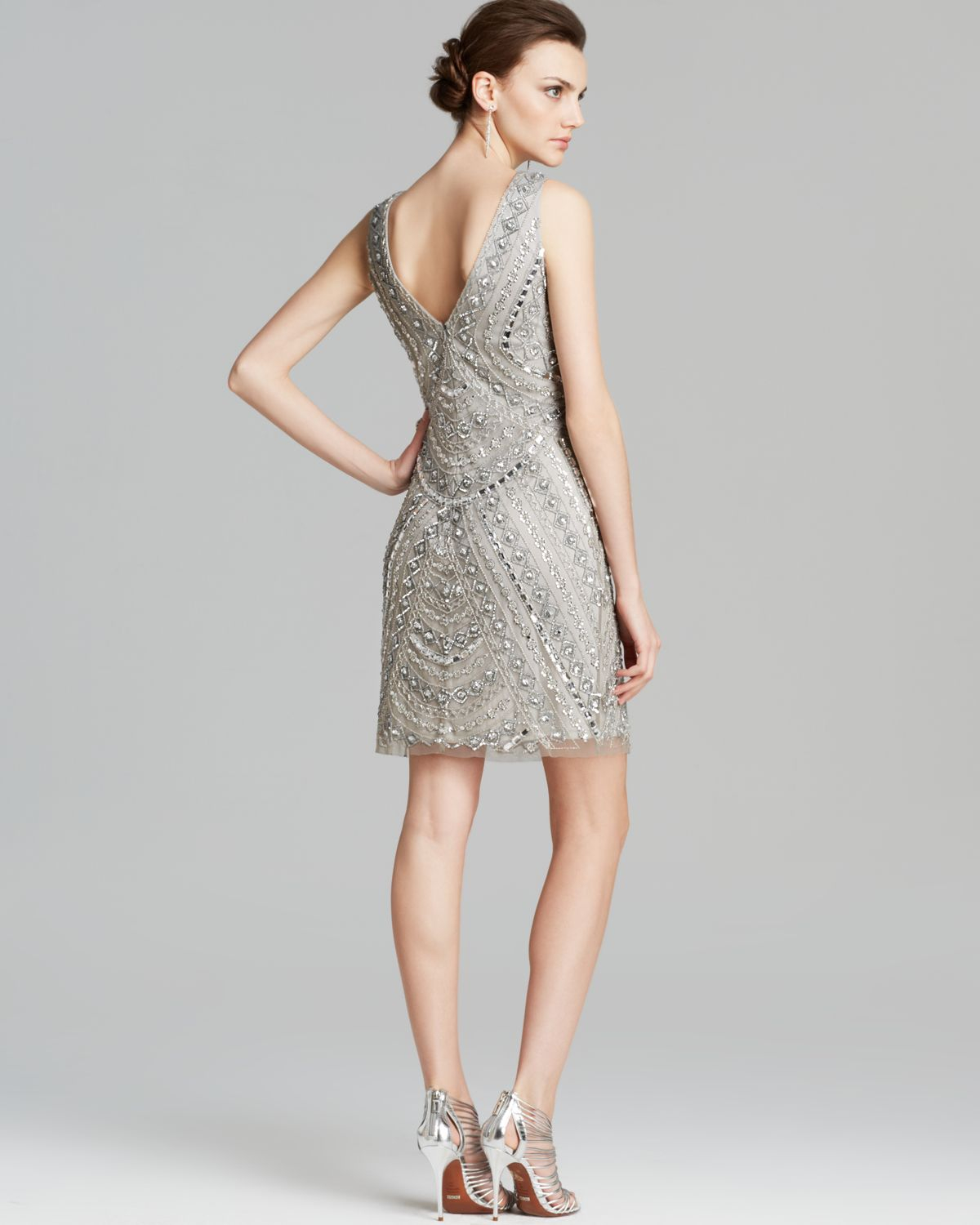Aidan mattox Dress Sleeveless V Neck Beaded in Metallic | Lyst