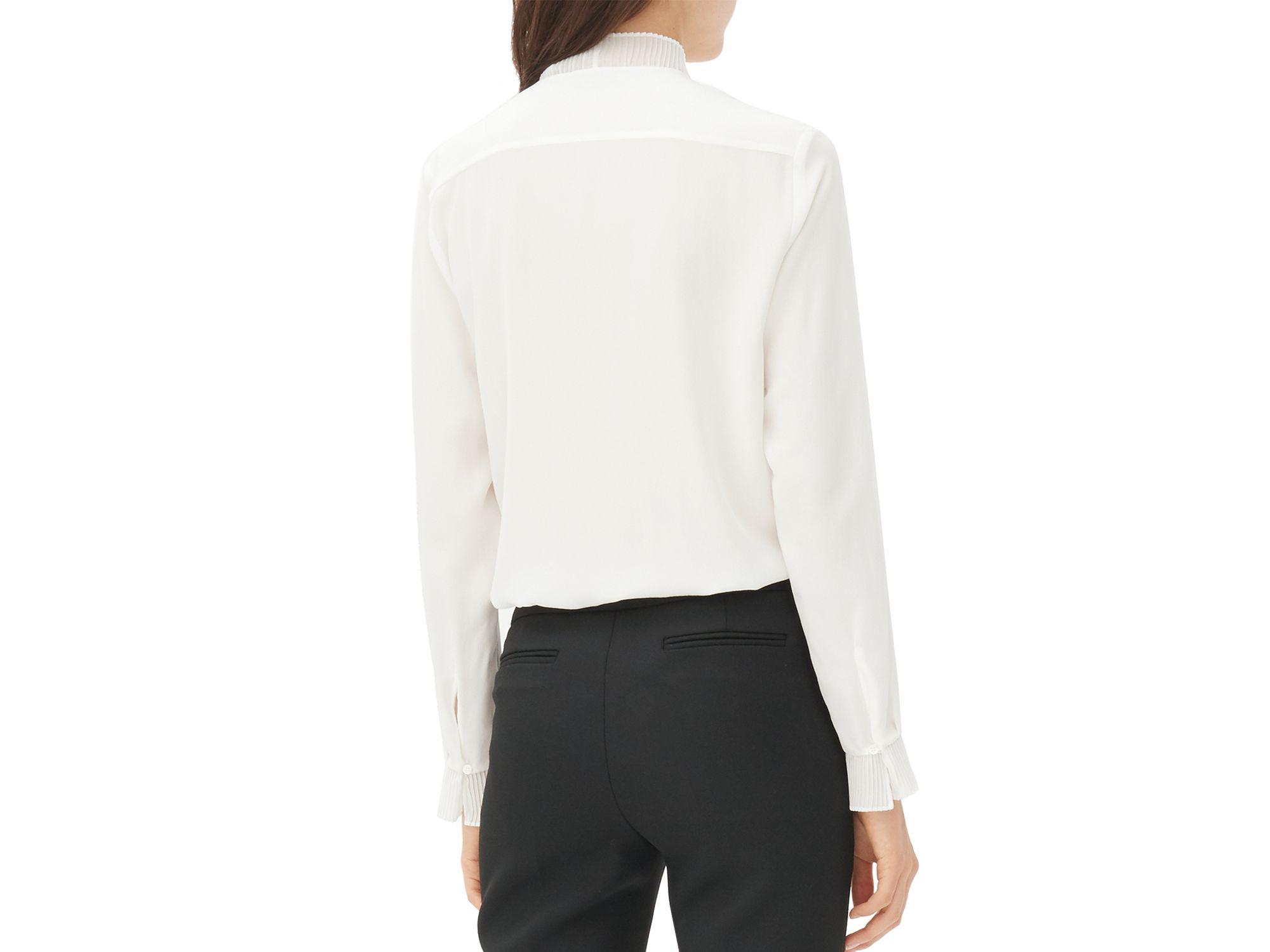 ae2cd08c4827b2 Lyst - Sandro Coline Ruffled Silk Blouse in White