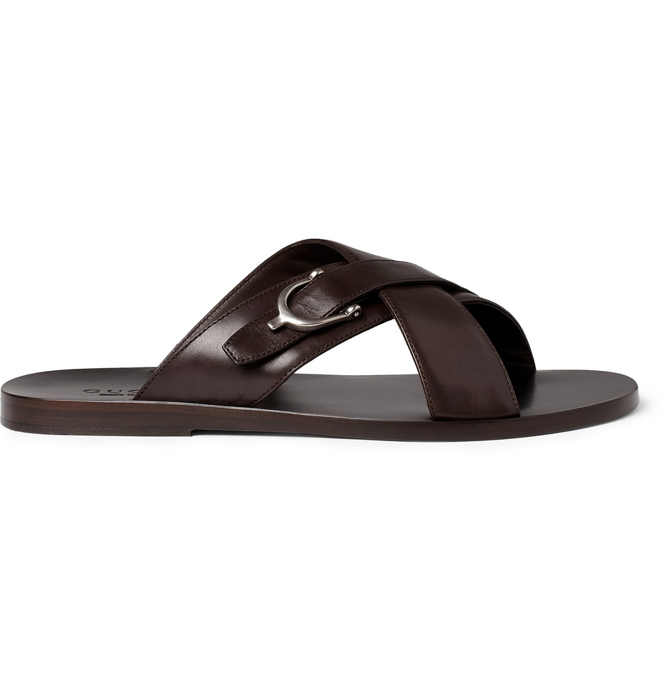 Lyst Gucci Leather Horsebit Sandals In Brown For Men