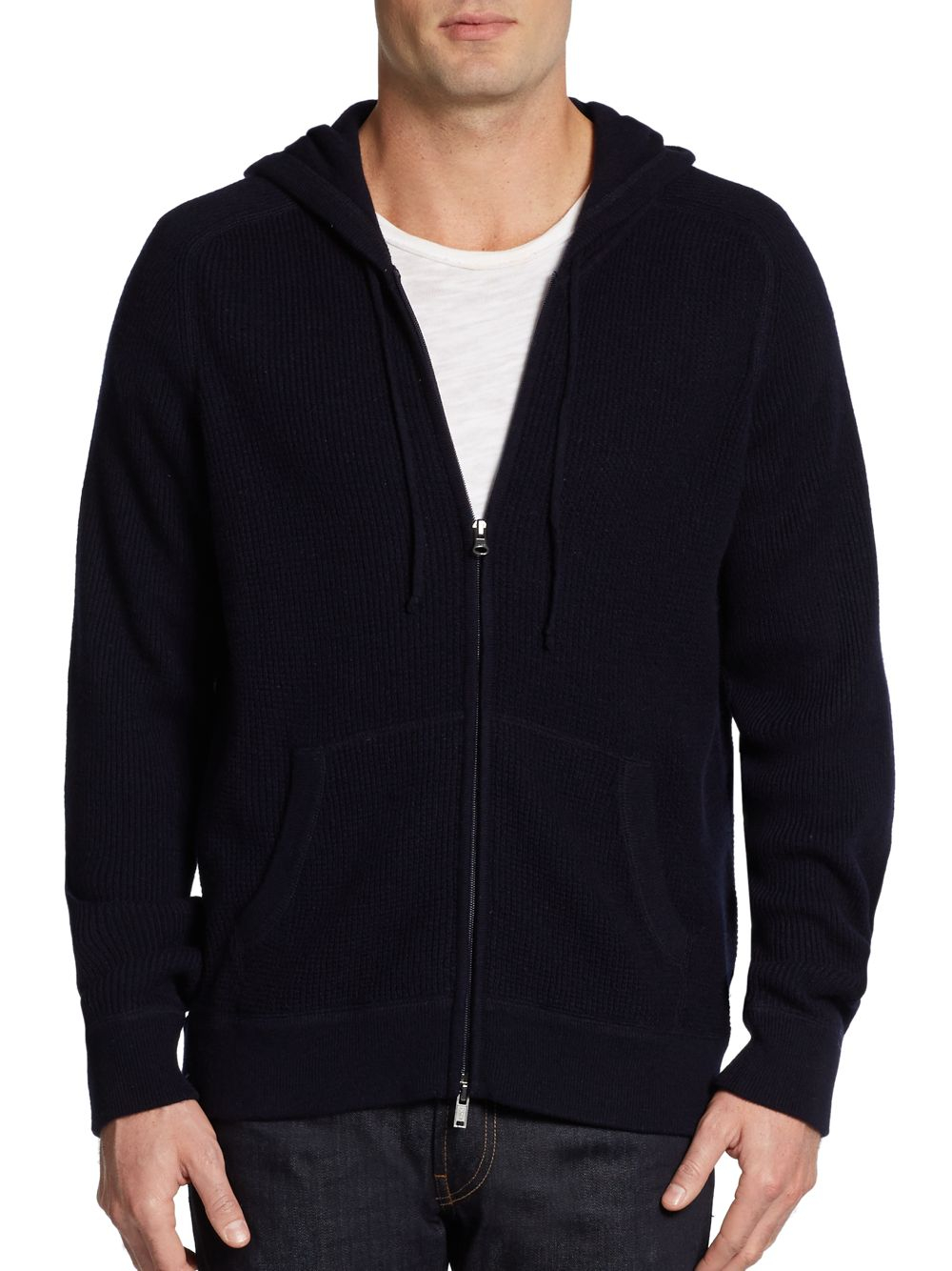 Lyst Vince Wool Cashmere Waffle Knit Hoodie In Blue For Men