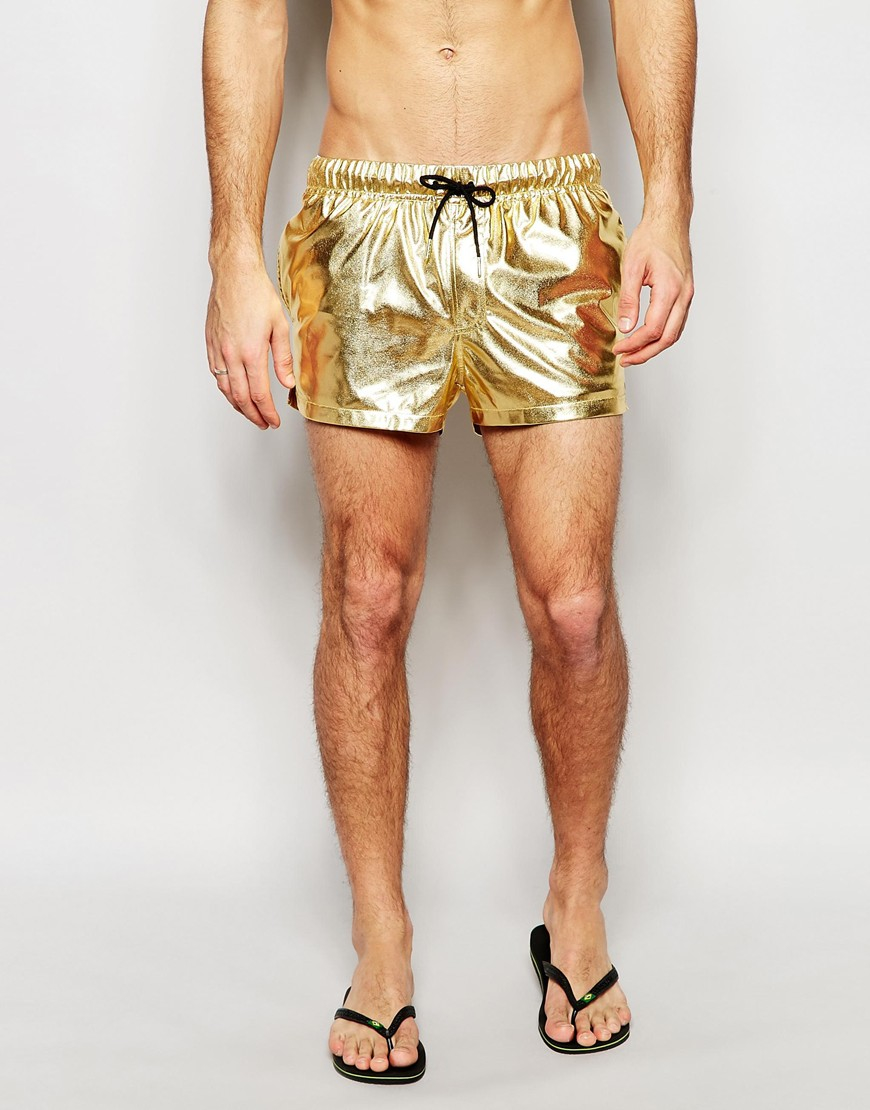 9f755cb092 ASOS Swim Shorts In Metallic Gold Short Length in Metallic for Men ...