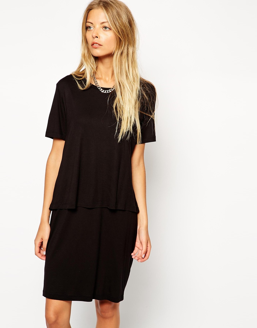 Lyst - Asos T-shirt Dress With Overlay in Black