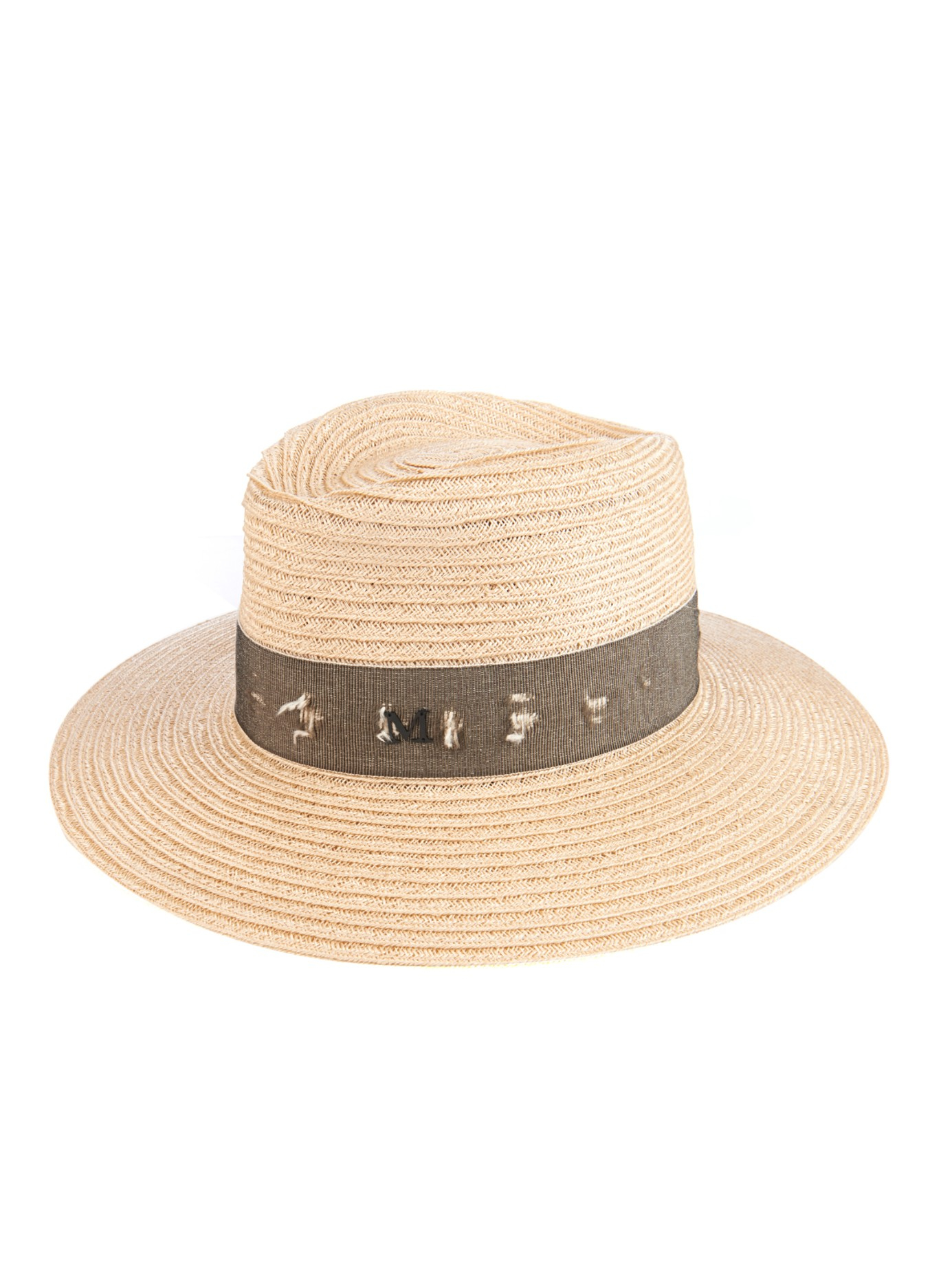 48c49cdfd0c Maison Michel Charles Destroyed-band Straw Hat in Natural - Lyst