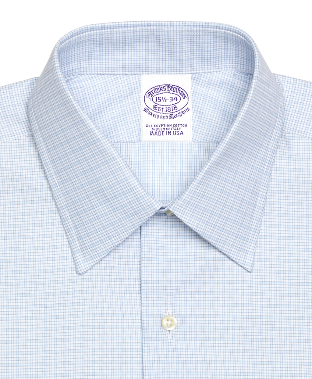 Brooks brothers madison fit micro tonal check french cuff for Light blue french cuff dress shirt